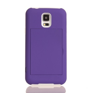 For Samsung Galaxy SV G900 Card Storage Plastic & TPU 2 in 1 Hybrid Shell - White / Purple