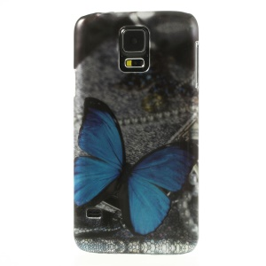 Stereoscopic Effect Blue Butterfly for Samsung Galaxy SV GS 5 G900 Hard Protector Cover
