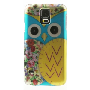 For Samsung Galaxy SV GS 5 G900 3D Effect Blue Owl & Roses Smooth Hard Shell Case
