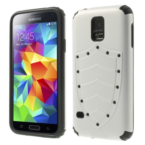 Cool Shield Design PC + TPU Hybrid Case Cover for Samsung Galaxy S5 G900 G900K - White