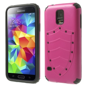 Cool Shield Design 2 in 1 PC + TPU Combo Case for Samsung Galaxy S5 G900 G900A - Magenta