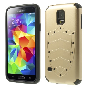 Cool Shield Design 2 in 1 PC + TPU Combo Shell for Samsung Galaxy S5 G900 G900T - Champagne