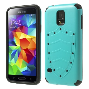 Cool Shield Design 2 in 1 PC + TPU Protector Case for Samsung Galaxy S5 G900 G900R4 - Cyan