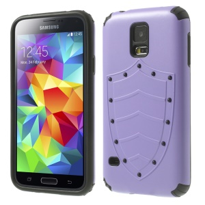 Cool Shield Design 2 in 1 PC + TPU Hybrid Cover for Samsung Galaxy S5 G900 G900P - Purple