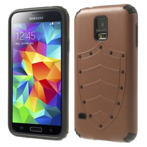 Cool Shield Design PC + TPU Hybrid Phone Case for Samsung Galaxy S5 G900 G900H - Brown