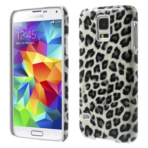 White Leopard Leather Coated Hard PC Case for Samsung Galaxy S5 G900
