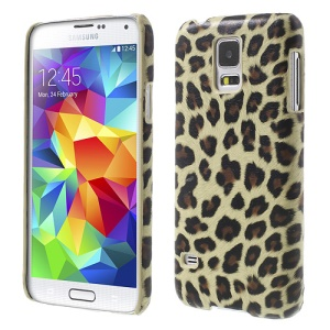Beige Leopard Leather Coated PC Hard Cover for Samsung Galaxy S5 G900