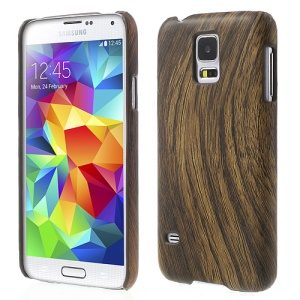 Wood Pattern Leather Skin Hard Case for Samsung Galaxy S5 G900 - Coffee