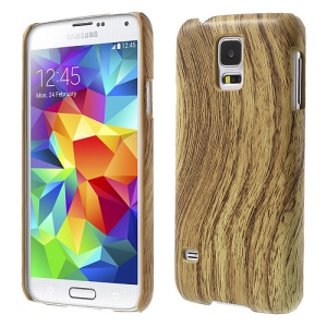 For Samsung Galaxy S5 G900 Wood Pattern Leather Coated Hard Cover - Brown