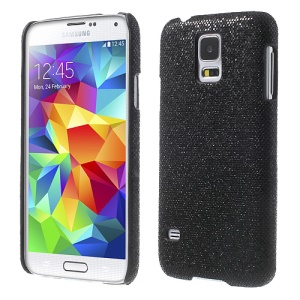 Glittery Sequins Leather Skin Hard PC Shell for Samsung Galaxy S5 G900 - Black