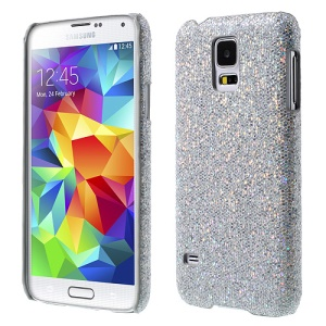 Glittery Sequins Leather Coated PC Hard Case for Samsung Galaxy S5 G900 - Silver