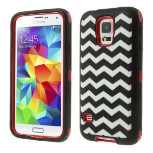 Red for Samsung Galaxy SV GS 5 G900 Wave Pattern Silicone & PC Impact-resistant Robot Combo Shell