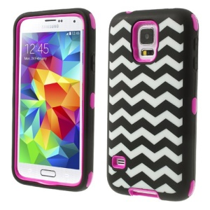 Rose for Samsung Galaxy SV GS 5 G900 Wave Pattern Silicone & PC Impact-resistant Combo Shell