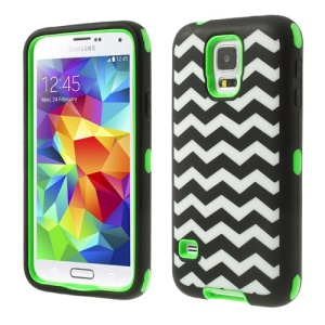 Green for Samsung Galaxy SV GS 5 G900 Wave Pattern Silicone & PC Impact-resistant Combo Case