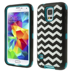 Turquoise for Samsung Galaxy S5 G900 Wave Pattern Silicone & PC Impact-resistant Combo Case