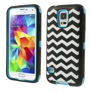 Light Blue for Samsung Galaxy S5 G900 Wave Pattern Silicone & PC Impact-resistant Combo Cover