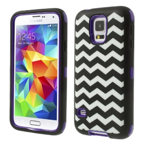 Purple for Samsung Galaxy S5 G900 Wave Pattern Silicone & PC Impact-resistant Hybrid Cover