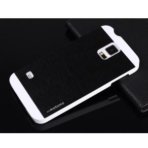 MOTOMO Brushed Aluminum Metal Skin Hard Case for Samsung Galaxy S5 G900 - White / Black