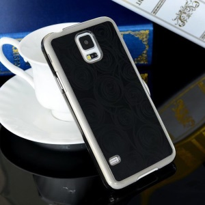 Black KUWEISI Carved Circles Electroplating Hard Case for Samsung Galaxy S5 G900