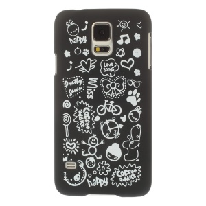 For Samsung Galaxy S5 G900 Cartoon Graffiti Pattern Matte Hard Plastic Case - Black