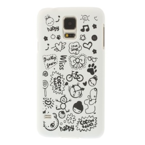 For Samsung Galaxy S5 G900 Cartoon Graffiti Pattern Matte Hard Plastic Cover - White