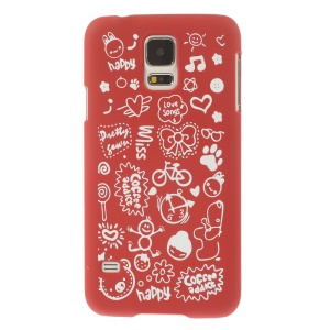 For Samsung Galaxy S5 G900 Cartoon Graffiti Pattern Matte Hard Plastic Shell - Red