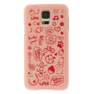 For Samsung Galaxy S5 G900 Cartoon Graffiti Pattern Matte Hard Plastic Case Cover - Pink