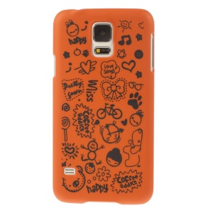 For Samsung Galaxy S5 G900 Cartoon Graffiti Pattern Matte Plastic Hard Back Case Cover - Orange