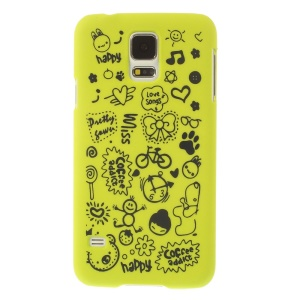 For Samsung Galaxy S5 G900 Cartoon Graffiti Pattern Matte Plastic Hard Back Case - Green