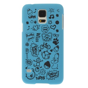 For Samsung Galaxy S5 G900 Cartoon Graffiti Pattern Matte Plastic Hard Back Shell - Light Blue