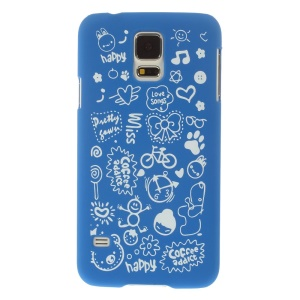 For Samsung Galaxy S5 G900 Cartoon Graffiti Pattern Matte Plastic Hard Back Shell Cover - Dark Blue