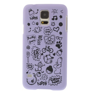 For Samsung Galaxy S5 G900 Cartoon Graffiti Pattern Matte Plastic Hard Back Case Shell - Purple
