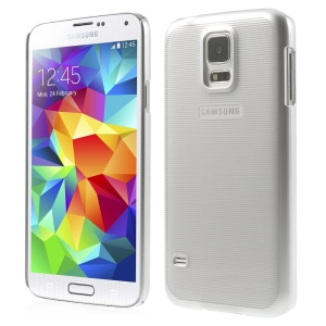 Stripe Surface Plating Plastic Hard Case for Samsung Galaxy S5 G900 - Silver