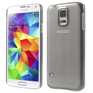 Stripe Surface Plating Plastic Hard Cover for Samsung Galaxy S5 G900 - Gray