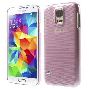 Stripe Surface Plating Plastic Hard Shell Cover for Samsung Galaxy S5 G900 - Purple