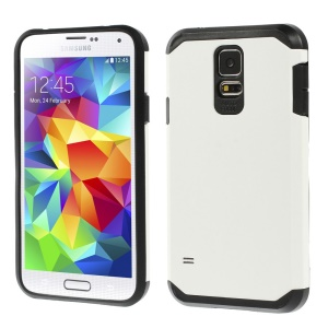 Protective Matte PC + TPU Hybrid Cover for Samsung Galaxy S5 G900 - White / Black