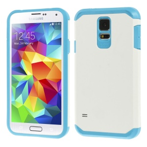 Protective Matte PC + TPU Hybrid Shell for Samsung Galaxy S5 G900 - White / Blue