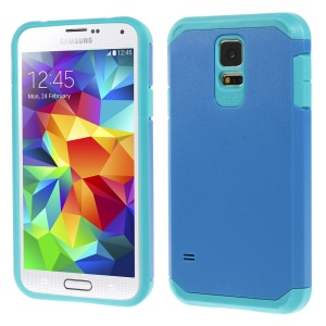 Protective Matte PC + TPU Hybrid Back Case Cover for Samsung Galaxy S5 G900 - Blue
