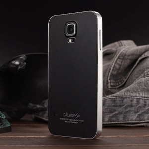 Luphie Aluminum Bumper Frame Shell Cover for Samsung Galaxy S5 G900 - Black / Silver