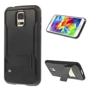 PC + TPU Hybrid Shell w/ Kickstand for Samsung Galaxy S5 G900 - Black