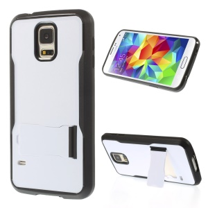 PC + TPU Shell Case w/ Kickstand for Samsung Galaxy S5 G900 - White / Black