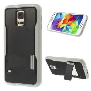 PC + TPU Shell Case w/ Kickstand for Samsung Galaxy S5 G900 - Black / Grey