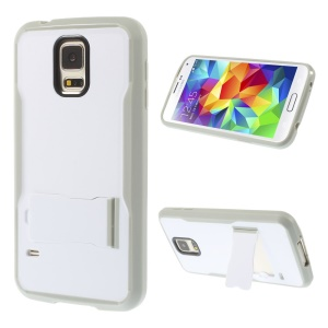 For Samsung Galaxy S5 G900 PC + TPU Shell Cover w/ Kickstand - White / Grey