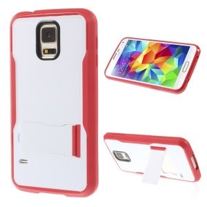 For Samsung Galaxy S5 G900 PC + TPU Combo Shell w/ Kickstand - White / Red