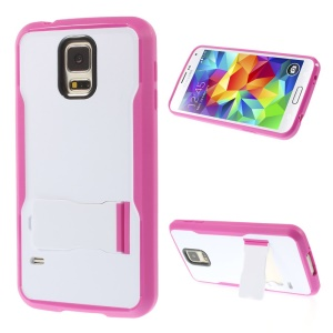 For Samsung Galaxy S5 G900 PC + TPU Combo Case w/ Kickstand - White / Rose