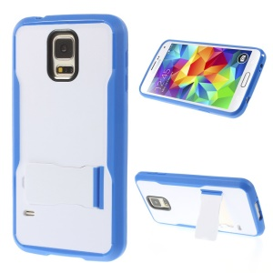 For Samsung Galaxy S5 G900 PC + TPU Cover Case w/ Kickstand - White / Blue