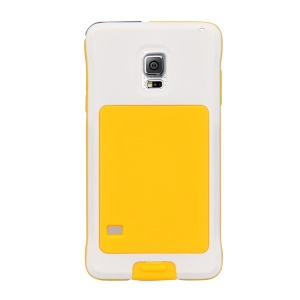 PEPKOO Dustproof Dropproof Shockproof Metal + Silicone Cover for Samsung Galaxy S5 G900 - White / Yellow