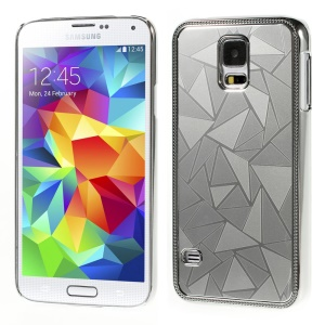 Water Cube Pattern for Samsung Galaxy S5 G900 Electroplating Metal Hard Shell - Silver