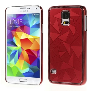 Water Cube Pattern for Samsung Galaxy S5 G900 Electroplated Metal Hard Back Case - Red