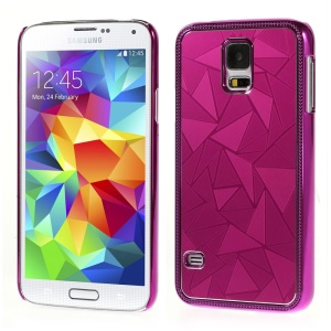 Water Cube Pattern for Samsung Galaxy S5 G900 Electroplated Metal Hard Back Shell - Rose